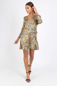 Leopard Satin Print Ruffle Hem Mini Dress