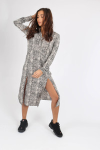 Grey Snake Print Double Split Midi Dress