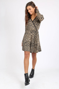 Leopard Print Long Sleeve Wrap Dress