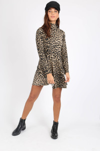 Leopard Print High Neck Mini Dress