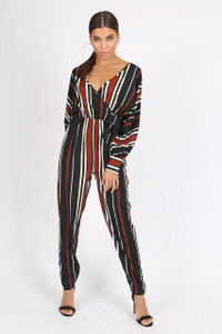 Multi Stripe Batwing Sleeve Wrap Jumpsuit