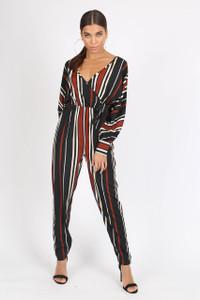 Multi Stripe Batwing Sleeve Wrap Jumpsuit