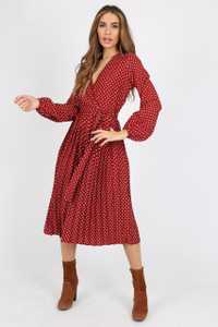 Burgundy And White Polka Dot Pleated Midi Dress