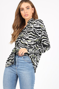 Black/White Neon Zebra Print Shirt With Long Sleeves