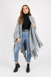 GREY PONCHO WITH TASSEL ENDS