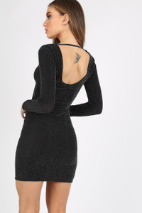 BLACK GLITTER BODYCON DRESS
