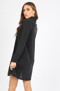 BLACK SILVER GLITTER COWL NECK LONG SLEEVE SWING DRESS