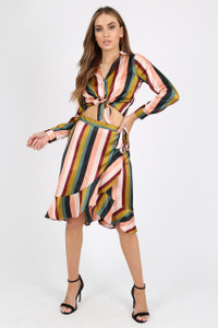 Multi Stripe Wrap Skirt With Ruffles And Self Fabric Belt