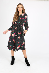 Floral And Spot Mix Print Tie Front Midi Dress With Long Sleeves