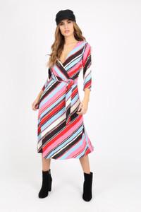 Multi Stripe Midi Wrap Dress With Metal Belt Detail
