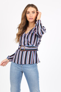 Multi Stripe Wrap Top With Belt Detail And Long Sleeves