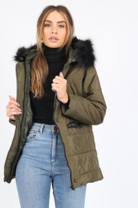Khaki Puffer Coat With Faux Fur Trim On Hood And Badges