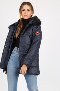 Navy Puffer Coat With Faux  Fur Trim On Hood And Badges