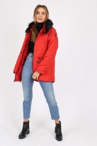 Red Puffer Coat With Faux  Fur Trim On Hood And Badges
