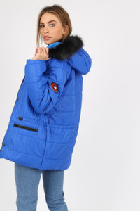 Royal Blue Puffer Coat With Faux Fur Trim On Hood And Badges