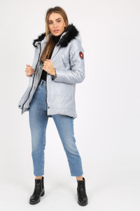 Silver Puffer Coat With Faux  Fur Trim On Hood And Badges