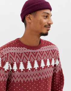 Red Christmas Fair isle Knitted Jumper