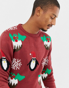 Burgundy Christmas Pudding Jumper