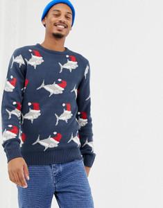 Navy Christmas Shark Jumper