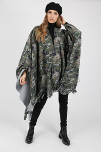 Camouflage Poncho With Tassel Ends