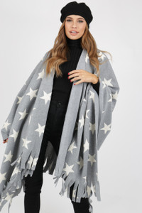 Grey Star Poncho With Tassel Ends