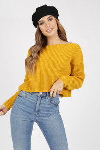 Mustard Chunky Knit Wide Neck Crop