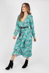Green Floral Wrap Frill Midi Dress