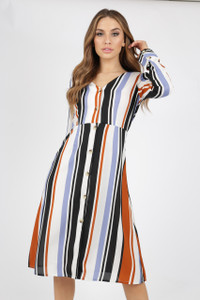 Stripe Button Through Midi Dress