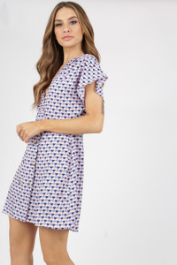 Pink Geo Print Dress With Mock Horn Buttons
