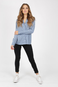 Irregular Spot Pyjama Shirt With Long Sleeves
