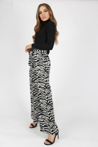 Zebra Print Wide Leg Paperbag Trouser with Neon Pop
