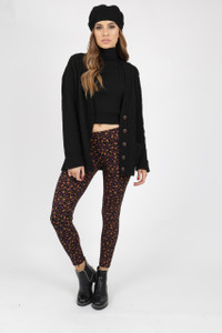 Ditsy Print Black Leggings