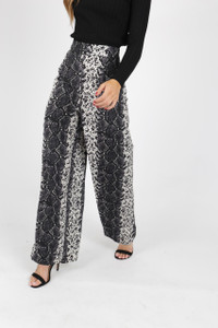 Wide Leg Snake Print Trousers