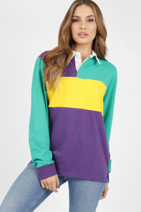 Colour Block Jersey Oversized Rugby Top
