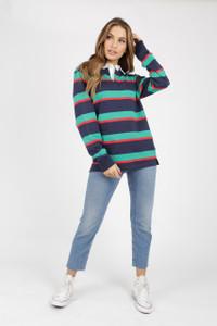 Striped Jersey Oversized Rugby Top