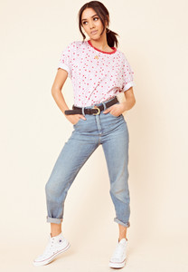 Love Heart Print T-Shirt with Contrast Neckline and Sleeves