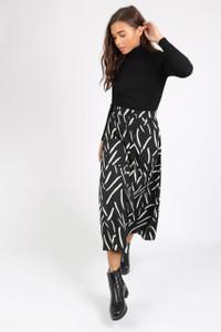 Mono Abstract Print Midi Skirt