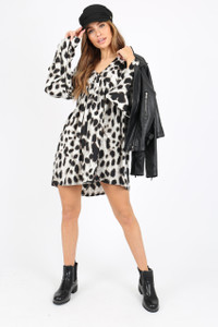 Leopard Print Smock Dress With Flare Sleeves