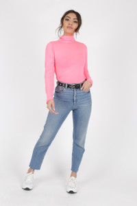 Neon Pink High Neck Long Sleeve Top