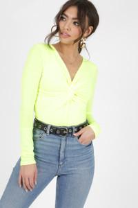 Neon Green Twist Front Plunge Neck Bodysuit