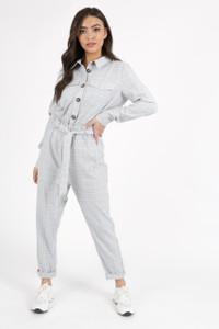 Grey Pastel Check Tie Waist Jumpsuit
