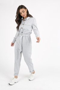 Grey Pastel Check Tie Waist Jumpsuit