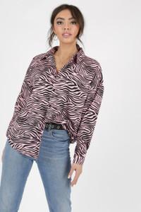 Pink Zebra Print Oversized Shirt