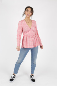 Pink Polka Dot Button Front Tea Top