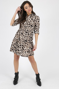 Leopard Animal Print Tiered Hem Shirt Dress