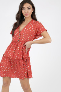 Rust Polka Dot Button Detail Smock Dress