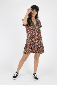 Leopard Animal Print Button Down Frill Hem Smock Dress