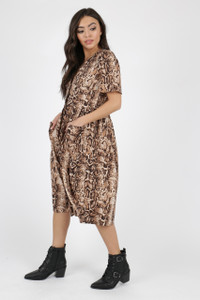 Brown Snake Print Button Down Midi Dress