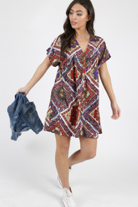 Multi Paisley Print Button Detail Smock Dress