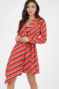 Red Stripe Asymmetric Wrap Dress